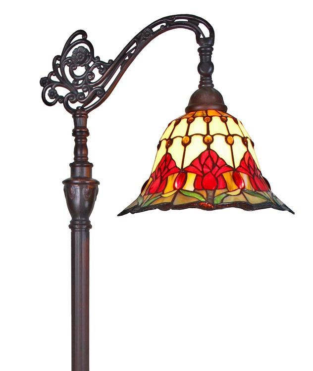 Amora Lighting Tiffany Style Tulips Reading Floor Lamp, 62-Inches