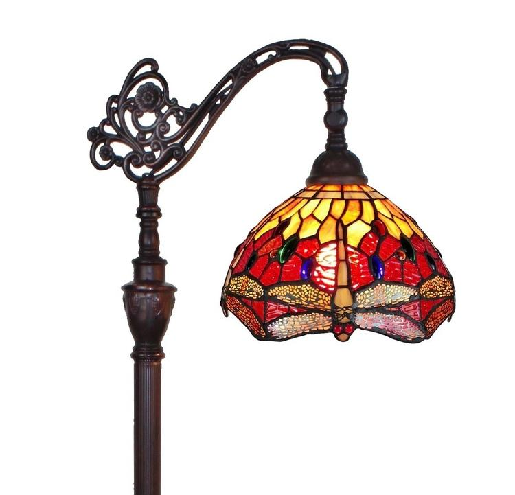 Amora Lighting Tiffany Style Dragonfly Reading Floor Lamp, 62-Inches