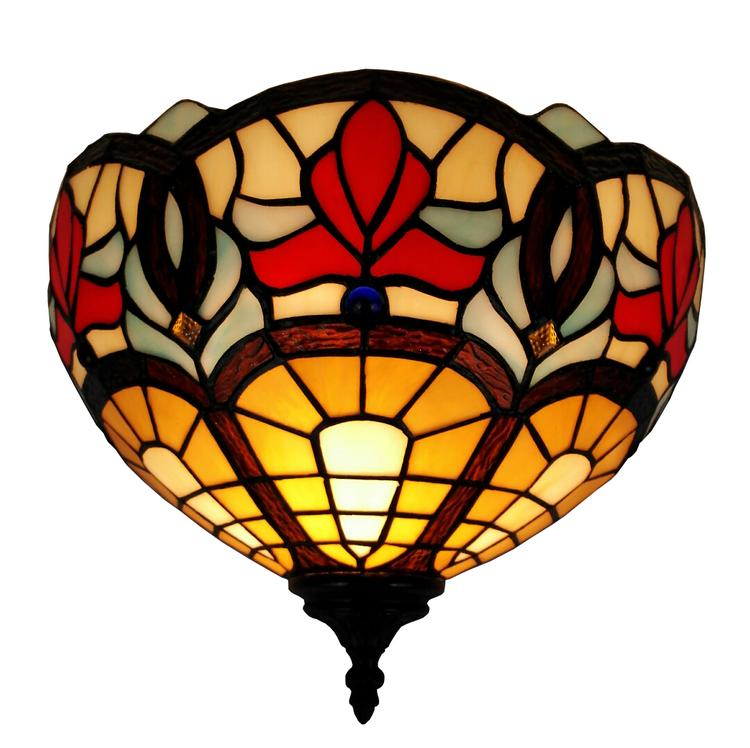 Amora Lighting Tiffany Style Victorian Design Wall Lamp, 12-Inches Wide