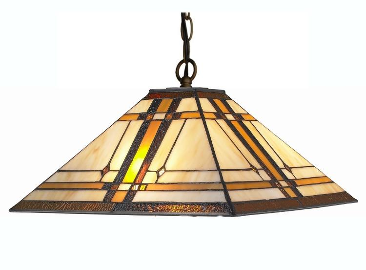 Amora Lighting AM1053HL14 Tiffany Style 2-Light Mission Hanging Lamp 14 Inches Wide