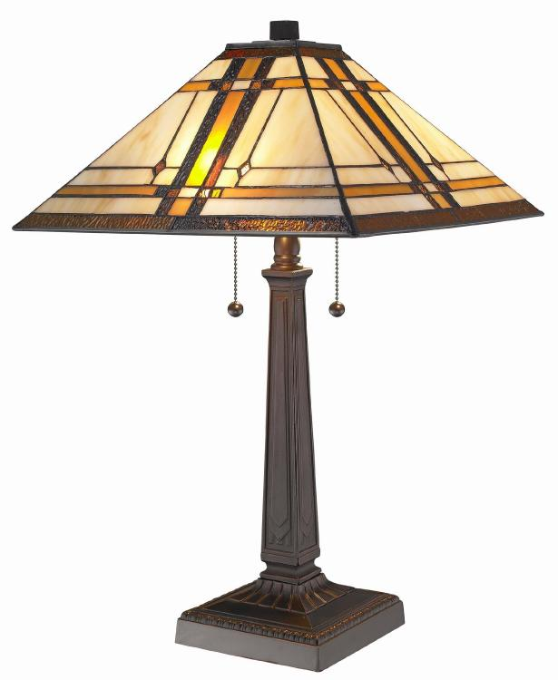 Amora Lighting Tiffany Style Mission Table Lamp, 22-Inches Tall