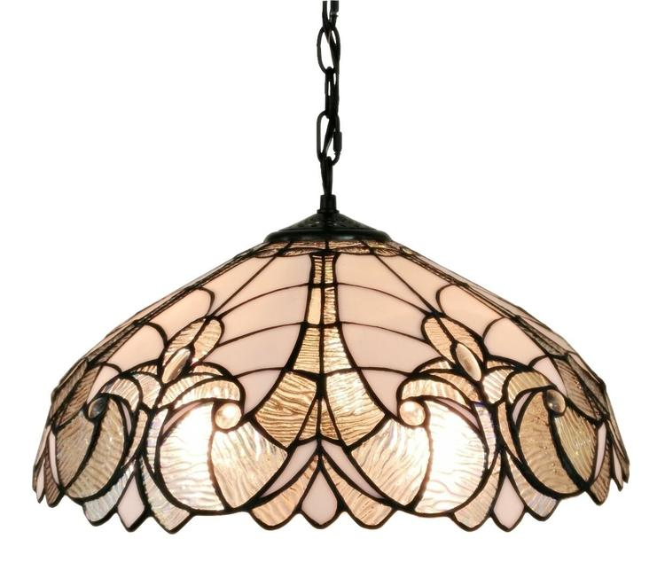 Amora Lighting AM206HL18 Tiffany Style 2-Light White Floral Hanging Lamp 18 Inches Wide