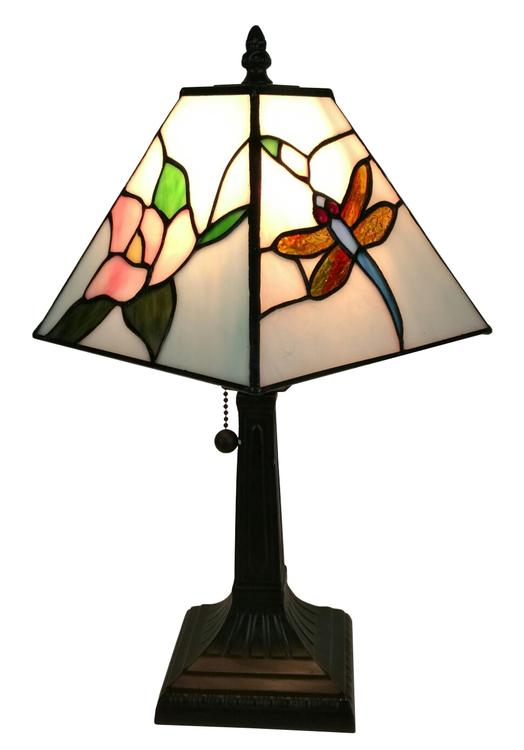 Amora Lighting Tiffany Style Mission Dragonfly Table Lamp, 8-Inches Wide