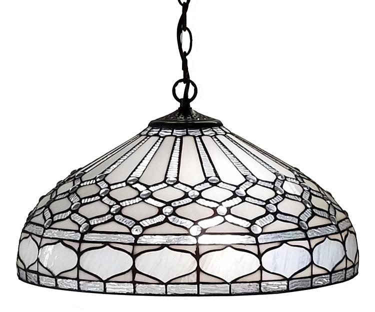 Amora Lighting AM221HL18 Tiffany Style 2-Light White Hanging Lamp 18 Inches Wide