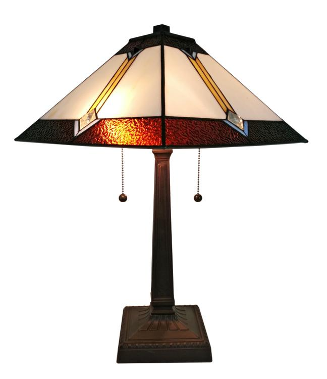 Amora Lighting Tiffany Style Mission Table Lamp, 21-Inches Tall