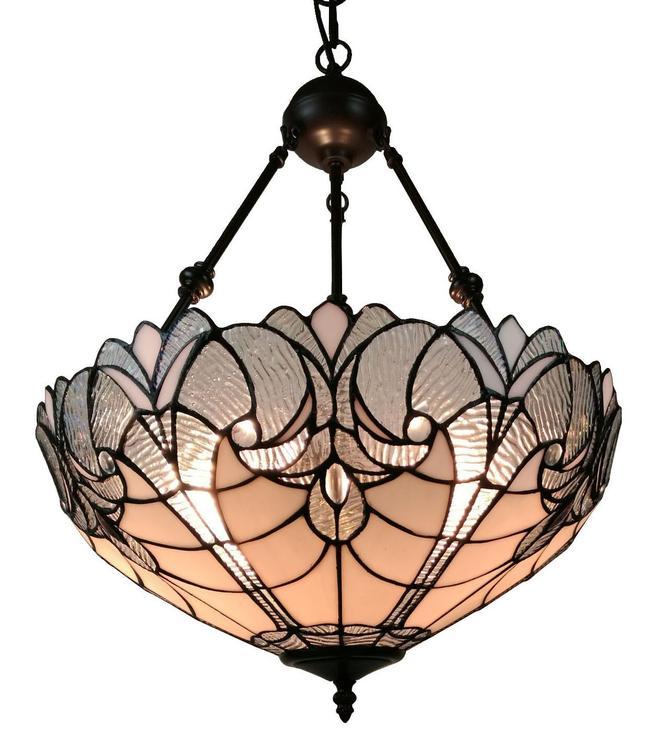 Amora Lighting AM263HL18 Tiffany Style 2-Light White Hanging Chandelier Lamp 18 In