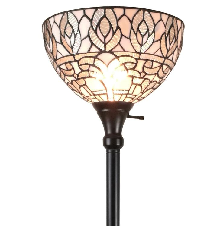 Amora Lighting AM275FL12 Tiffany Style White Torchiere Floor Lamp 72 Inches Tall