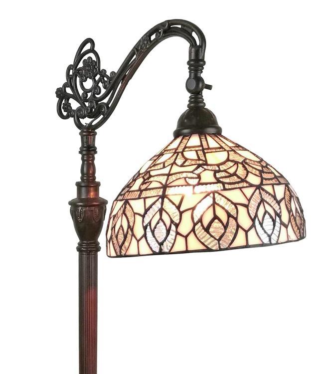 Amora Lighting AM277FL12 Tiffany Style Peacock Design Floor Reading Lamp