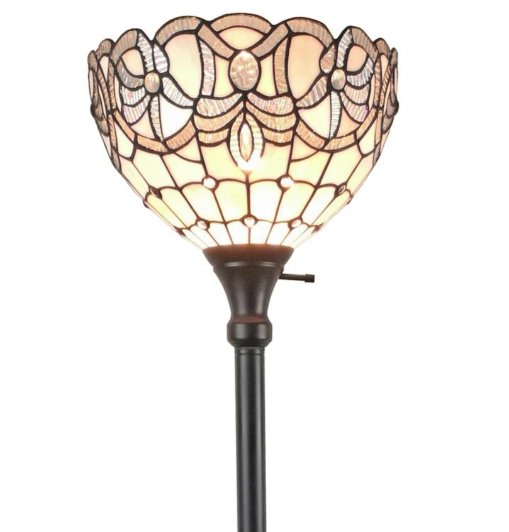 Amora Lighting AM284FL12 Tiffany Style White Torchiere Floor Lamp 72 Inches Tall
