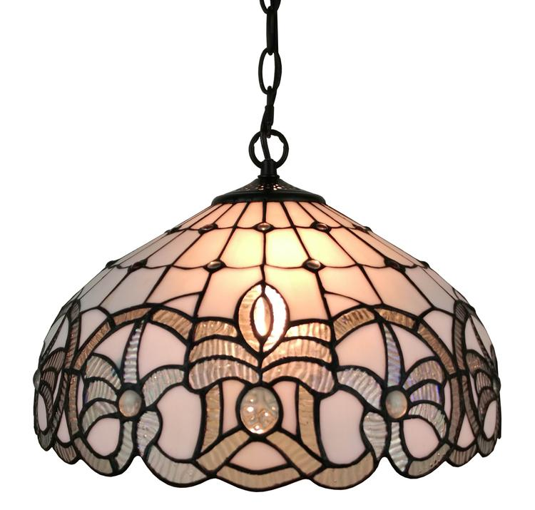 Amora Lighting AM294HL16 Tiffany Style White Hanging Lamp 16 Inches Wide
