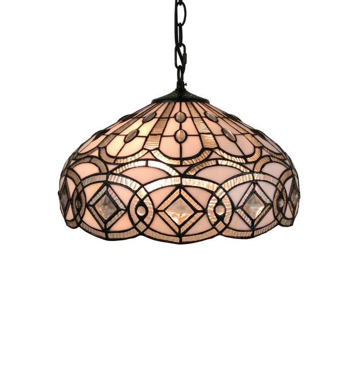 Amora Lighting AM295HL16 Tiffany Style White Hanging Lamp 16 Inches Wide