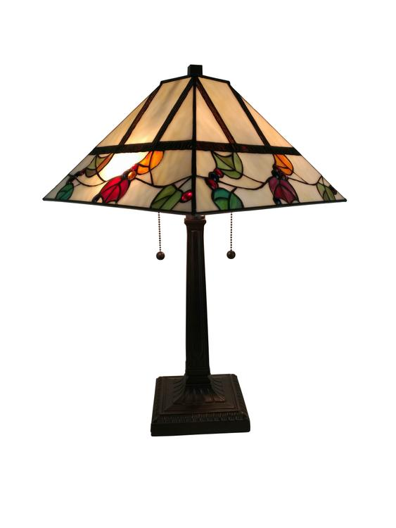 Amora Lighting AM301TL14 Tiffany Style Berries/Leaves Mission Table Lamp 22 Inches Tall