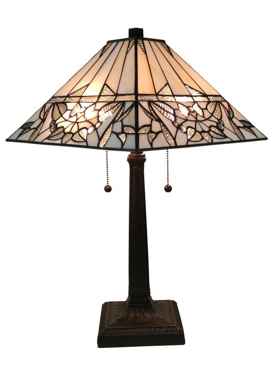 Amora Lighting AM308TL14 Tiffany Style White Mission Table Lamp 22 Inches Tall