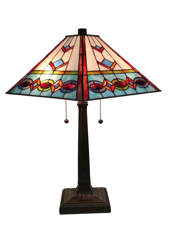 Amora Lighting AM310TL14 Tiffany Style Multi-Color Mission Table Lamp 22 Inches Tall