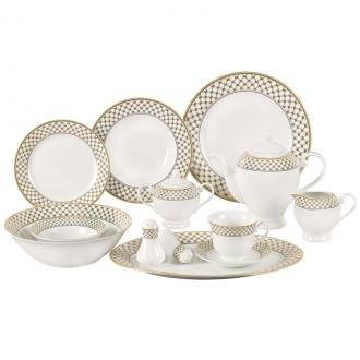 Lorren Home Trends 57 Piece Porcelain Dinnerware Set, Service for 8