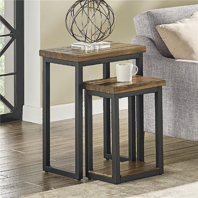 Bolton Furniture Claremont Rustic Wood Nesting End Tables, Set of Two