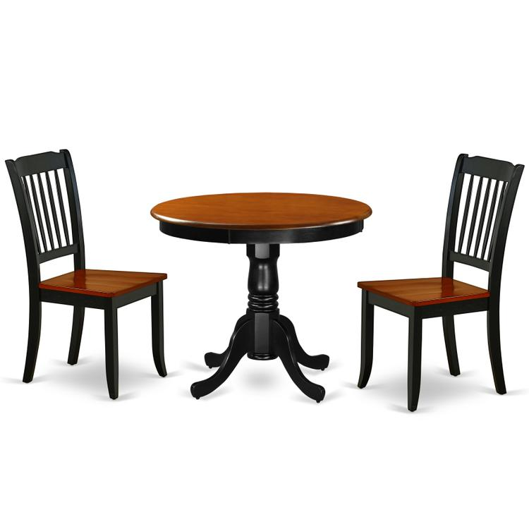 East West Furniture  ANDA3-BCH-W 3PC Round 36 inch Table and 2 vertical slatted Chairs