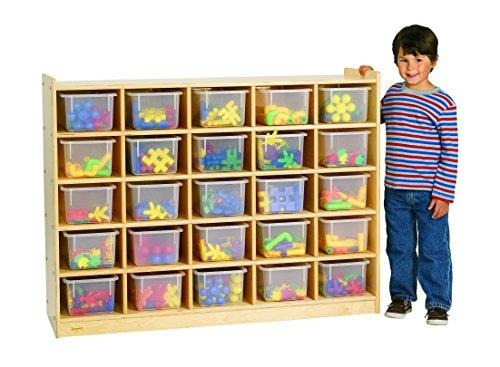 Value Line Birch 25-Tray Cubby Storage with Opaque Trays