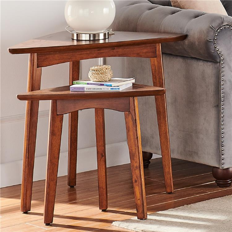 Bolton Furniture Monterey 40-inch L Triangular Set of Two Mid-Century Modern Nesting Tables, Warm Chestnut