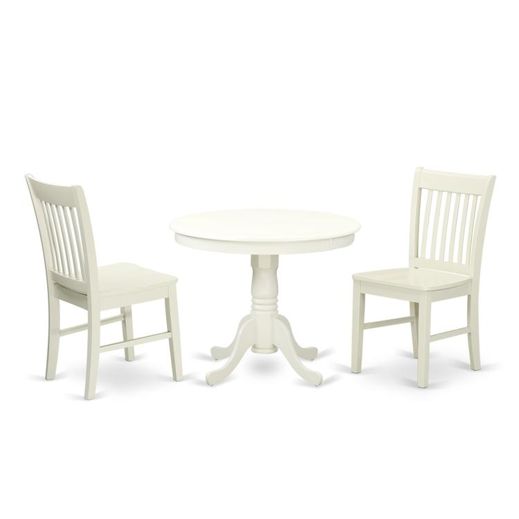 East West Furniture ANNO3-LWH-W 3 Pc Kitchen table set with a Dining Table and 2 Kitchen Chairs in Linen White [Item # ANNO3-LWH-W]