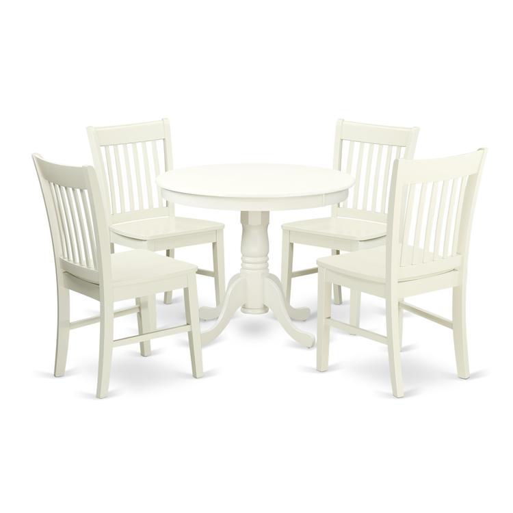 East West Furniture ANNO5-LWH-W 5 Pc Kitchen table set with a Dining Table and 4 Wood Seat Kitchen Chairs in Linen White [Item # ANNO5-LWH-W]