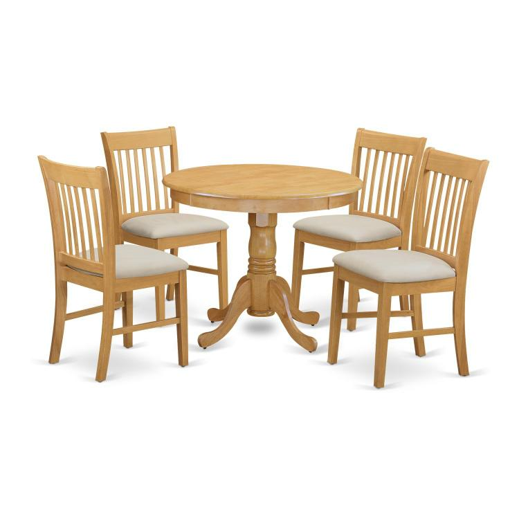 East West Furniture 3-Pc Small Kitchen Table Set [Item # ANNO5-OAK-C]