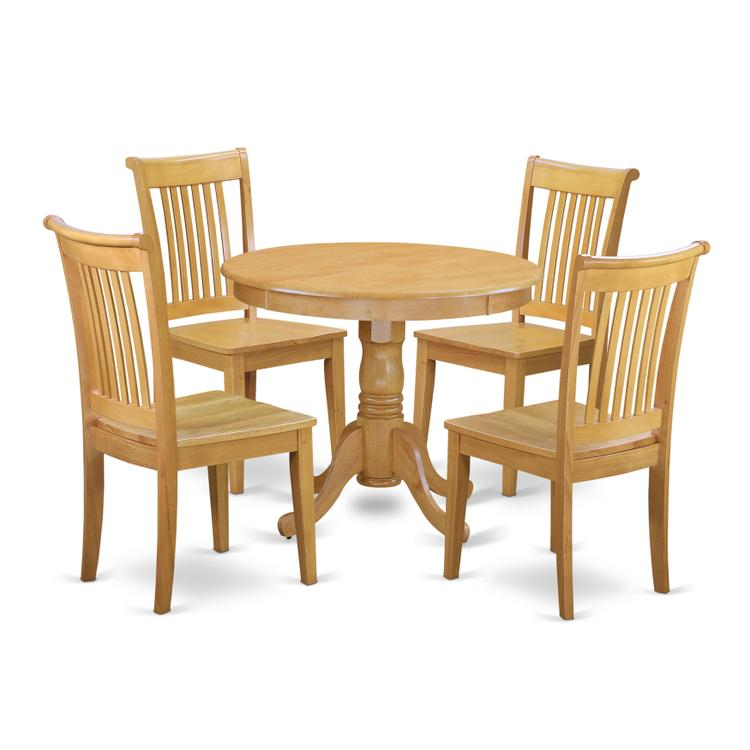 East West Furniture ANPO5-OAK-W 5 Pc Kitchen table set with a Dining Table and 4 Wood Seat Kitchen Chairs in Oak [Item # ANPO5-OAK-W]