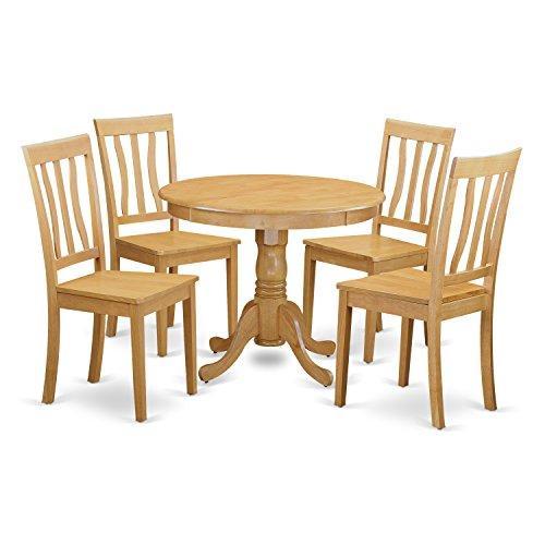 East West Furniture 5-Piece Kitchen Table Set [Item # ANTI5-OAK-W]
