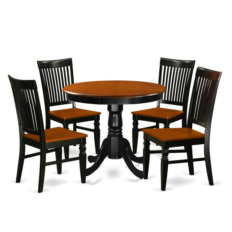 East West Furniture ANWE5-BCH-W 5 Pc Kitchen table set with a Dining Table and 4 Wood Seat Kitchen Chairs in Black and Cherry