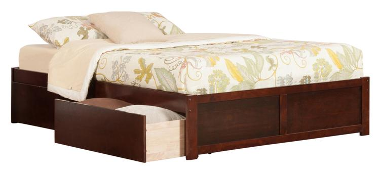 Concord King Bed with Flat Panel Foot Board and 2 Flat Panel Bed Drawers in Walnut