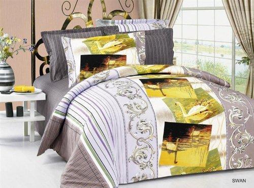 Arya Full/Queen Size Duvet Cover Sheets Set, Swan