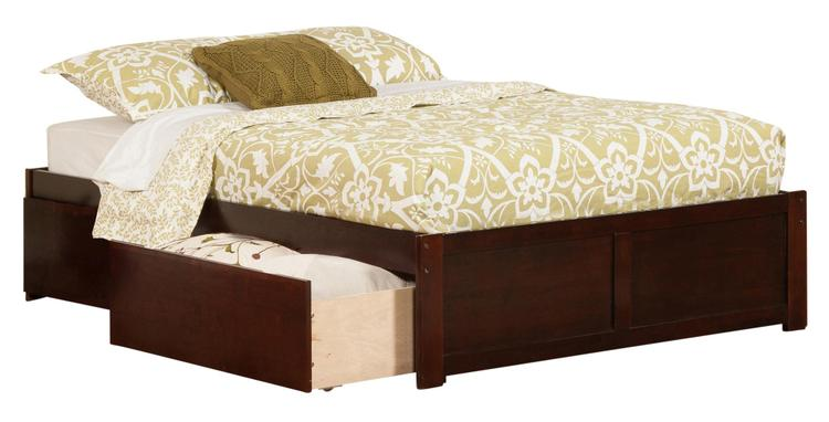 Concord King Platform Bed with Flat Panel Foot Board and 2 Urban Bed Drawers in Walnut