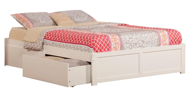 Atlantic Furniture Concord King Platform Bed with Flat Panel Foot Board and 2 Urban Bed Drawers in White