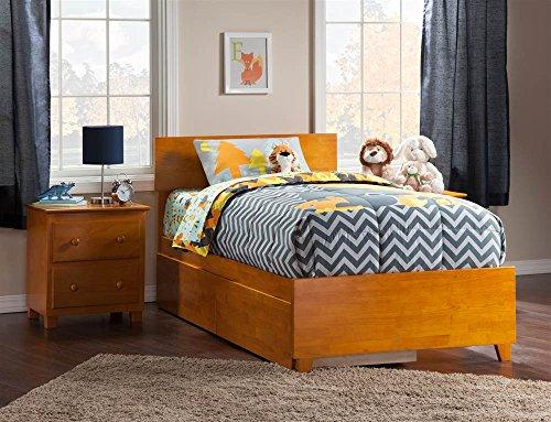 Orlando Twin XL Bed with Matching Foot Board with 2 Urban Bed Drawers in Caramel Latte