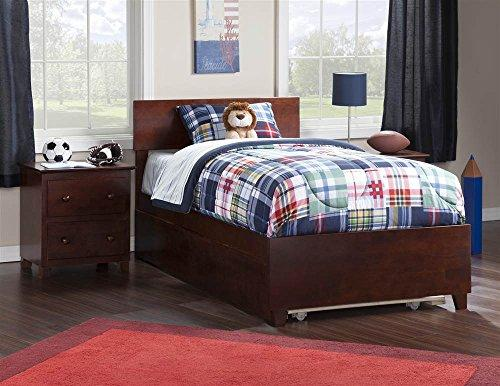 Orlando Twin Bed with Matching Foot Board with Urban Trundle Bed in Walnut