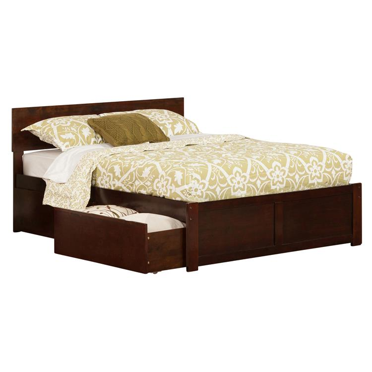 Atlantic Furniture Orlando Platform Bed with Flat Panel Foot Board and 2 Urban Bed Drawers