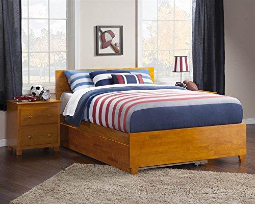 Orlando Full Bed with Matching Foot Board with Urban Trundle Bed in Caramel Latte