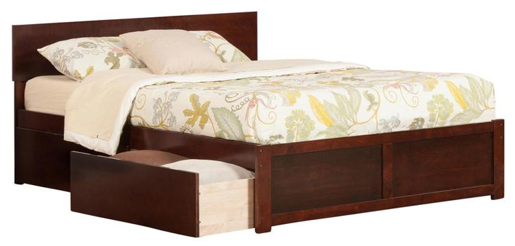Orlando King Platform Bed with Flat Panel Foot Board and 2 Urban Bed Drawers in Caramel