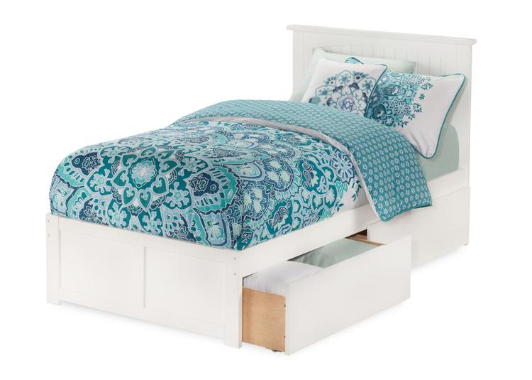 Atlantic Furniture Nantucket Platform Bed with Flat Panel Foot Board and 2 Urban Bed Drawers