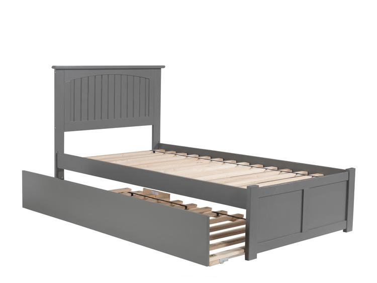 Nantucket Twin Platform Bed with Flat Panel Foot Board and Twin Size Urban Trundle Bed in Grey