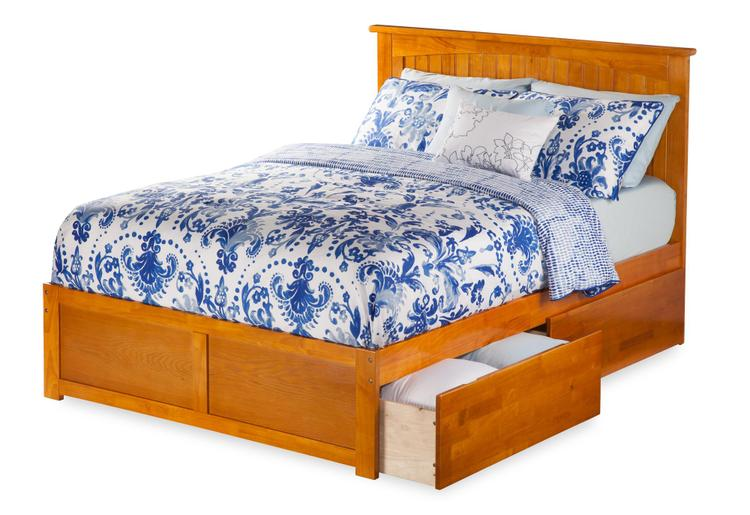 Nantucket King Platform Bed with Flat Panel Foot Board and 2 Urban Bed Drawers in Caramel