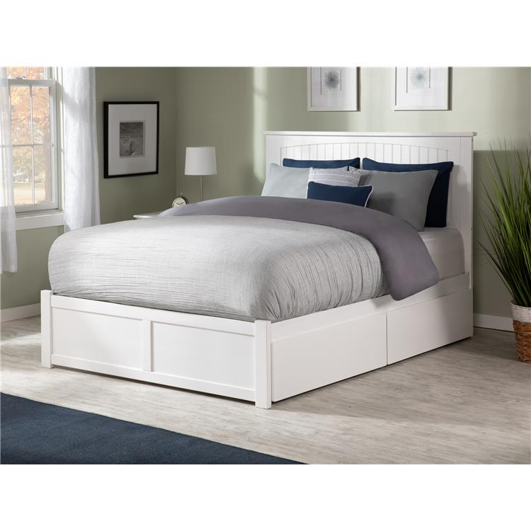 Nantucket Queen Platform Bed with Flat Panel Foot Board and 2 Urban Bed Drawers in Caramel