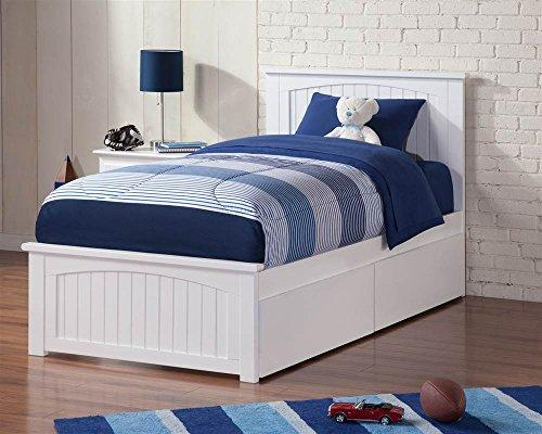 Madison Twin XL Bed with Matching Foot Board with 2 Urban Bed Drawers in White