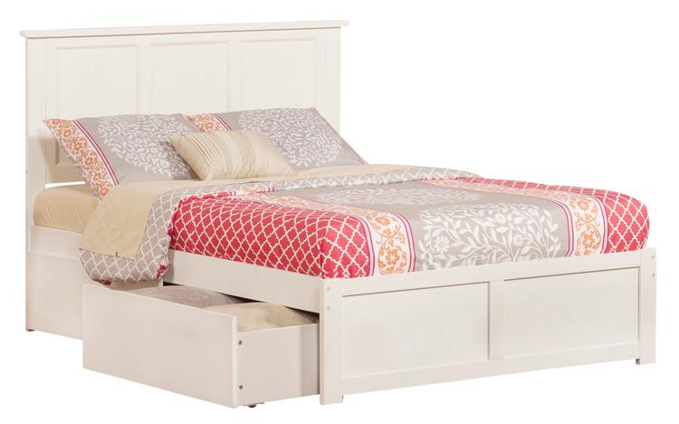 Atlantic Furniture Madison Queen Platform Bed with Flat Panel Foot Board and 2 Urban Bed Drawers in Grey
