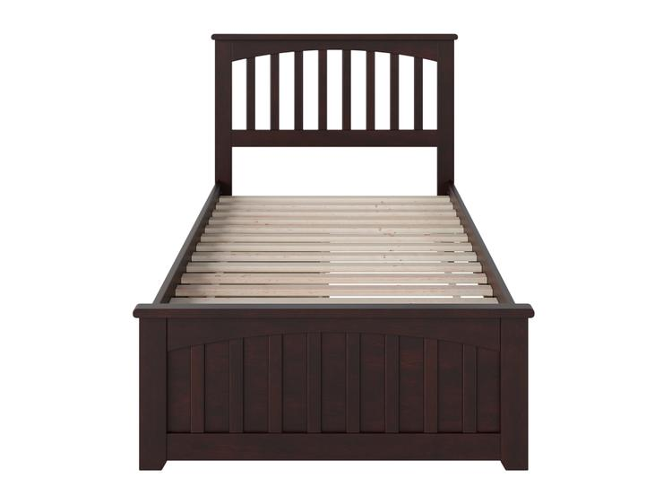 Atlantic Furniture Mission Queen Platform Bed with Matching Foot Board with 2 Urban Bed Drawers in Espresso