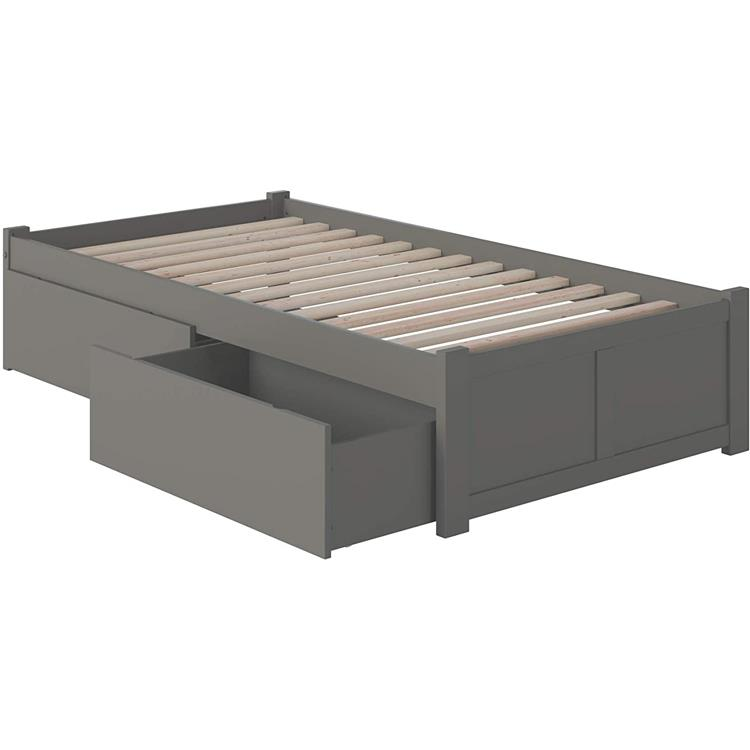 Mission Twin Platform Bed with Flat Panel Foot Board and Twin Size Urban Trundle Bed in Grey