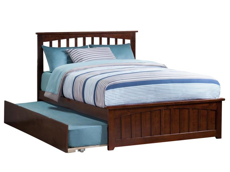 Mission Full Bed with Matching Foot Board with Urban Trundle Bed in Walnut