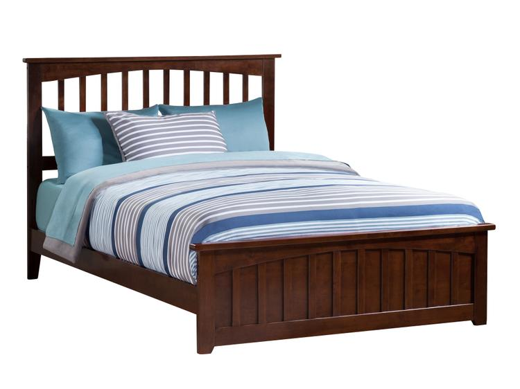 Mission Full Bed with Matching Foot Board in Walnut