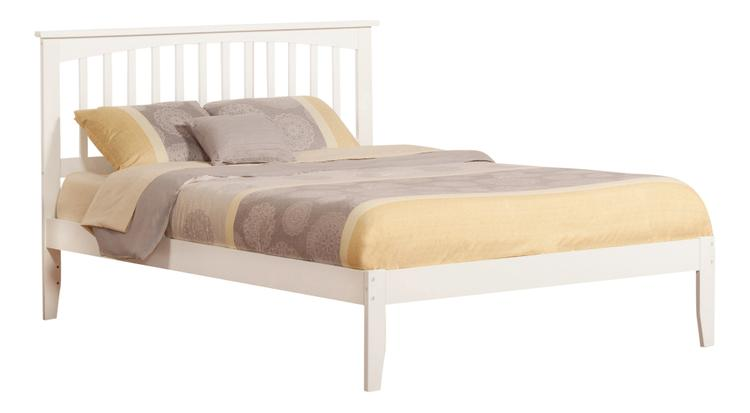 Mission King Platform Bed with Open Foot Board in White