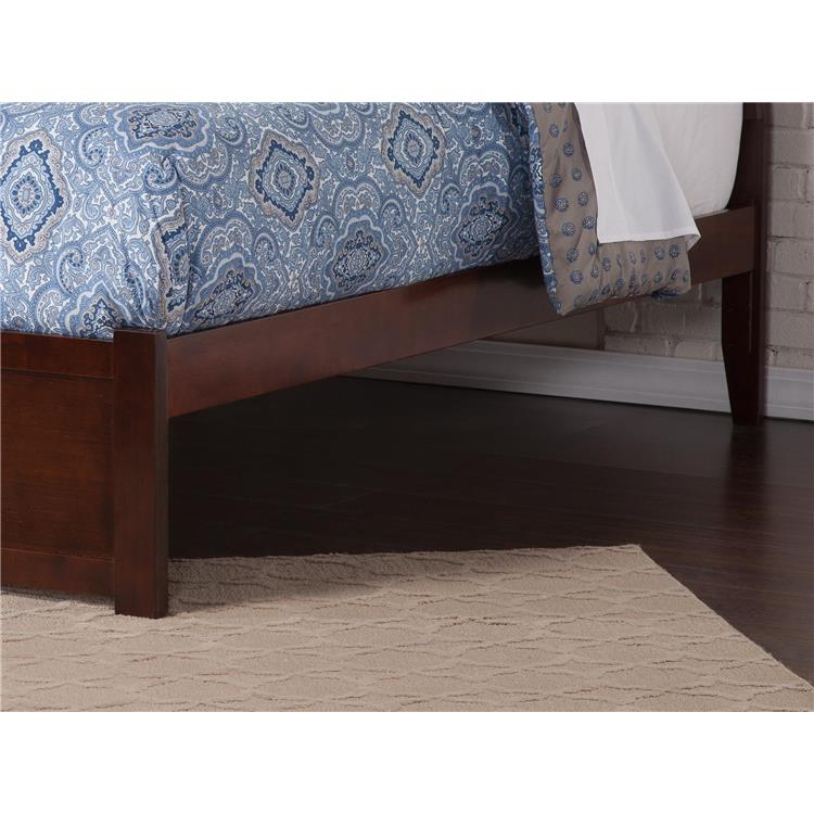 Portland King Platform Bed with Flat Panel Foot Board and 2 Urban Bed Drawers in Caramel